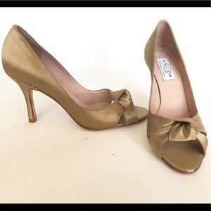 Oscar De La Renta Gold Satin Shoes